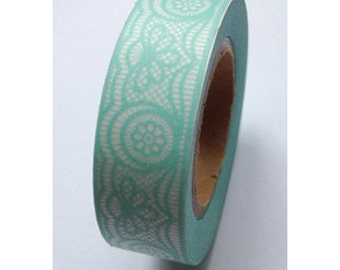 Washi Tape Mint Lace Washi tape Mint Colored Lace Washi Tape 5.5 yards 5 meters 15mm Pastel Green Pastel Mint Green Lace