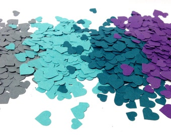 Adorable Heart Confetti in Dark Teal Light Teal Purple Dark Grey over 1000 hearts Paper Hearts Paper Confetti