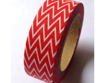 SALE Cherry Red Skinny Chevron Washi Tape 11 yards 10 meters 15mm Bright Red Chevron Washi Tape Skinny Chevron Washi Tape