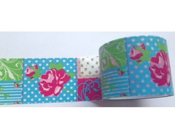 Blue Green Pink Floral Paisley Polka Dot Stripes Washi Tape 11 yards 10 meters 20mm Aqua Blue Neon Green Dark Pink