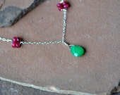Gemstone Necklace, Natural Rubies and Emeralds, Delicate Sterling Silver Chain, Mixed Gemstones, Rosettes Emerald Pendant