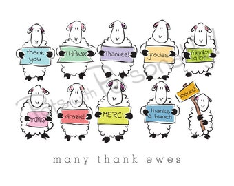 Printable Thank You Card - 2 per sheet - Many thank ewes
