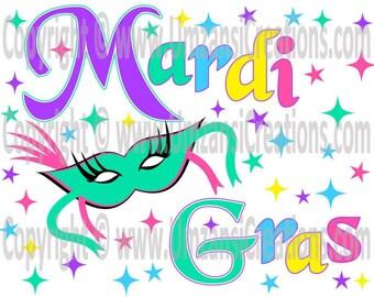 "DIY Printable ""Mardi Gras"" Iron On Transfer (PNG Digital Image)"