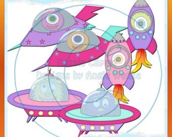 Space Stuff Girls 3 Clipart (Digital Download)