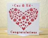 Congratulations 'Heart' Personalised Laser Cut Card
