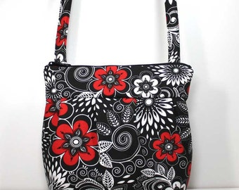 Small Pleated Shoulder Purse Sling Bag Hobo Shoulder Bag Cross Body Bag -Red and White Flowers on Black - Ready to Ship