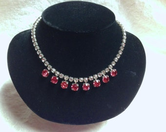 Vintage Clear and Pink Rhinestone Choker Necklace