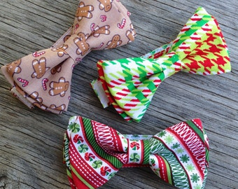 Christmas Ties for Boys  - Red and Green Houndstooth Bow Tie - Christmas Bow Ties for Boys - Gingerbread Man Bow Tie - Boy's Christmas Ties