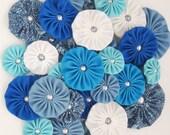 BLUE Fabric yoyos  yo-yo  / Flower embellishments / headband supplies / Assorted fabric yoyos by WhiteLilyFlowers