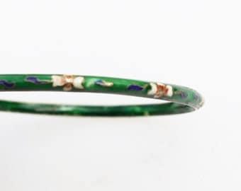 Vintage Chinese Green & Floral Design Cloisonne Bangle