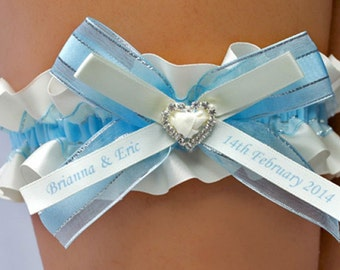 Personalised Garter in Ivory and Blue