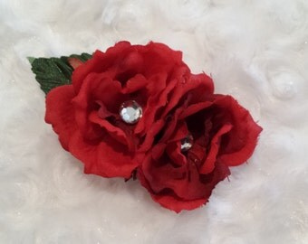 Red Rose Flower Clip- Ready to Ship