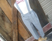 Boys suspender pants, grey suspender pants, wedding, ring bearer, availabe to order 12mo to 5t