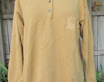 vintage 70s calvin klein tan sweater ck embroidered crest logo preppy buttonup made in usa