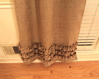 No Odor Burlap Curtains with Ruffles Burlap Panels Custom Size Available