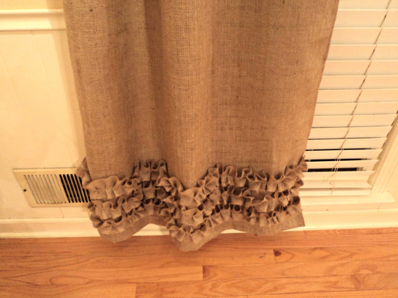 Ruffle window curtain - No Odor Burlap Curtains With Ruffles Burlap Panels Custom Size Available
