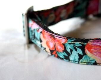 Vintage tropical floral Dog Collar