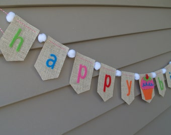 Happy Birthday Burlap Bunting with Felt Cupcake and Pom Poms