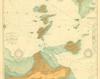 1917 Nautical Chart of Lake Erie