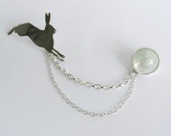 Handmade hare and moonstone brooch