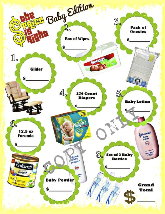 Price is right baby shower game instant download for Price is right bridal shower game template