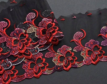 ON SALE: Black, Red, Purple Floral Embroidered Trim, Red Roses Trim, Flamico Dress, Flaminco Dance Costume, Red Floral Holiday Decor Trim