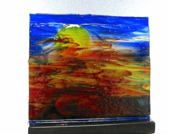 Watercolor Sunset Sunrise Art Glass Sculpture Panel Artist Signed