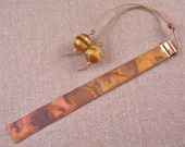 Engraved Quote Bookmark - Copper / Torch Flame Patina - Wood Beads & Black Twine - Custom Made