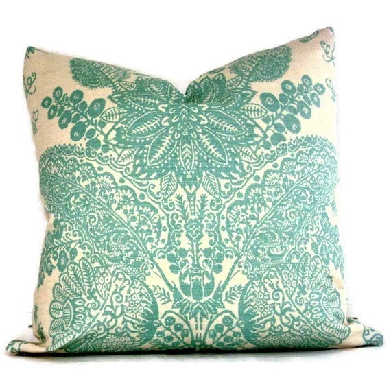 Schumacher Turquoise Lace Floral  Decorative Pillow Cover 18x18, 20x20, 22x22, 24x24, Eurosham, Lumbar Pillow, Aqua and cream pillow cover