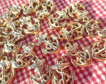 Nautical Anchor Gold Charms Pendants Jewelry Supplies 18 pieces