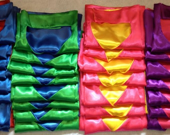 KIDS BASIC CAPE 0-6 yrs Affordable Superhero Capes  Double Velcro Collar Quick Easy Birthday Gift Party Favor