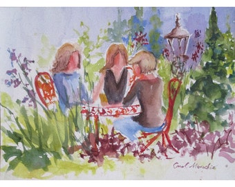 Morning Coffee at Maria's in Chester, NJ - 9 by 12 inch watercolor
