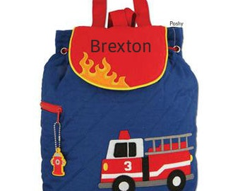 Personalized Boys Diaper Bag or Backpack Stephen Joseph Fire Truck