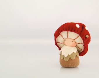 Mushroom Felt Doll, Organic kid's toy, Eco Friendlly toy, Handmade - Uncle Gerrik