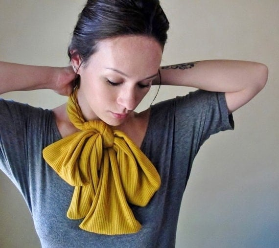MUSTARD YELLOW Neck Bow - Bohemian Head Scarf, Hair Wrap - Womens Golden Hair Accessories