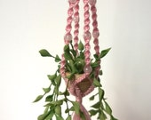 1/12 scale miniature dollhouse pink macrame hanger with plant.