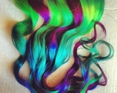 Toxic Ombre Dip Dyed Human Hair Extensions, Clip In Extensions, Hippie, Festival, Tye Dye Hair, Hair Weft, Peacock Wedding, Halloween