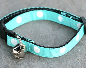 Ready To Ship - Cat Collar - Turquoise with White Polka Dots