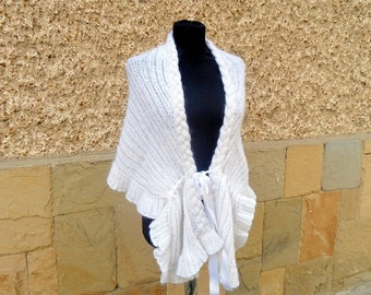 Knitted Wrap, Weddings Capelet, Knitted Bridal, Bridesmaids Capelet, Wedding Women Shrug, Satin Ribbon, Romantic Shrug