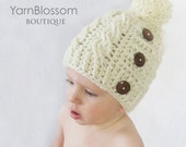 CROCHET PATTERN Cozy Cable Hat (5 sizes included from newborn-adult) Instant Download