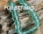 CLEARANCE -SALE- Half Price -Full Strand  aprox 50 pieces- Recycled Glass, Round  Beads 9mm RGFS3