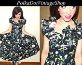 Reserved VTG 80s 50s Black Floral ROCKABILLY Ruffle Full Sweep Garden Tea Party Dress M
