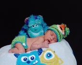 MONSTER Crochet Newborn Beanie Hat n Diaper Cover Set Pom-Pom - You Pick Colors - Cute Photo Prop