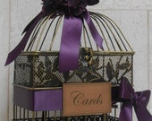 Small Birdcage Wedding Card Holder / Card Box / Wishes Box / Eggplant Wedding / Birdcage Cardholder / Wedding Cardholder / Wedding Decor