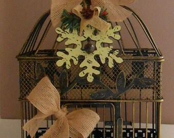 Christmas Birdcage Decoration / Home Decor / Christmas Decorations /  Holiday Home Decor / Rustic Christmas Decorations