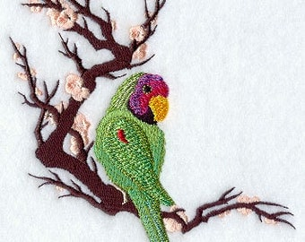 Asian Parakeet with Branch Embroidered Flour Sack Hand/Dish Towel