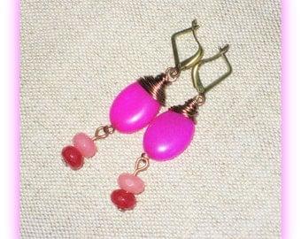 "Pink Ruby, Fuschia Jade and Flamingo Topaz Cluster earrings, 1 1/2""L"