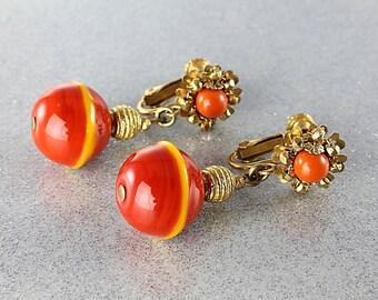Miriam Haskell Earrings, Orange Glass Dangle Beaded Earrings 1960s jewelry