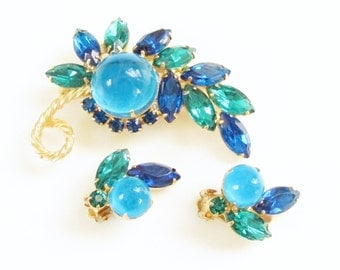 Vintage D&E aka Juliana Blue Green Cabochon Rhinestone Brooch Earrings Verified