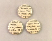 Set of 3 Three Buttons Badges Book Pages Literature Lover Writing Words English Teacher Reading Black and White Monochrome Goth Bookworm